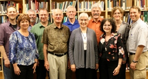 MB Historical Commission, June 2013. Back (l-r) J Janzen, Kevin Enns-Rempel, Richard Thiessen, Don Isaac, Jon Isaak, Julia Reimer, Conrad Stoesz; front, Valerie Rempel, Abe Dueck, Dora Dueck, Peggy Goertzen.