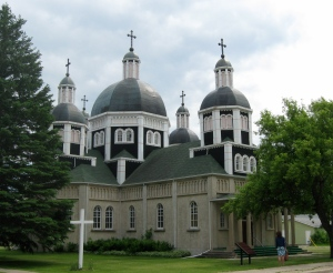The Ukrainian Catholic Church of the Resurrection, Dauphin, Man., built by volunteers between 1936 and 1939, architect Father Philip Ruh, artist-iconographer Theodore Baran.