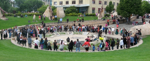 "A circle dance by participants at Winnipeg's ""Honour the Apology"" event, July 25, 2013"