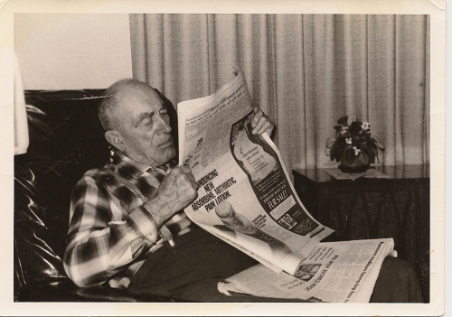 An old photo I recently found in my mother's papers of my grandfather Harder reading