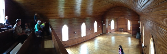 All-wood interior of the first Mennonite Brethren church building in North America, the historic Hillsboro MB church, still in use by Tabor College students. Photo by J. Janzen