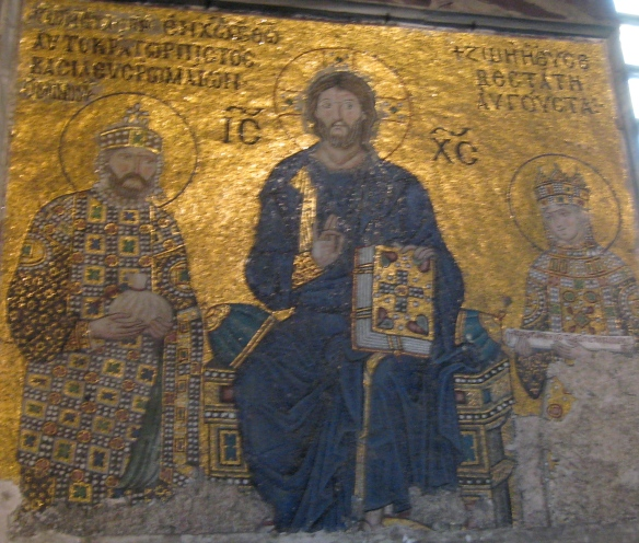 The woman on the right, in this mosaic in Hagia Sophia? Empress Zoe. Because I want to learn more the her and sister Theodora. Two powerful women, but friends, it seems, they were not. not.