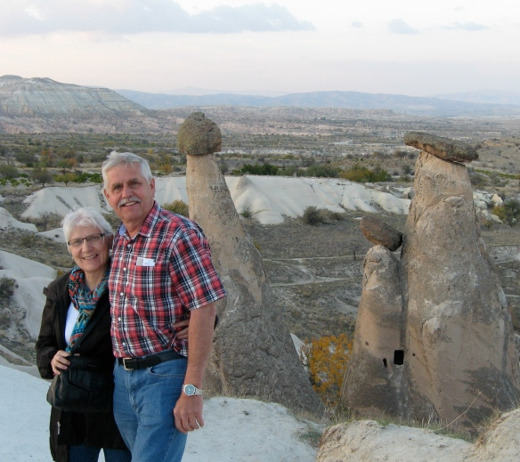 Because this Turkey trip was our 40th wedding anniversary to each other, and here we are, so far so good, at the family grouping in the Valley of the Fairy Chimneys, Cappadocia.