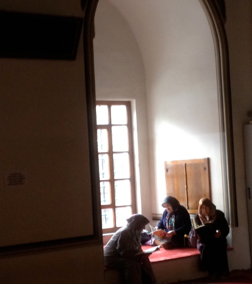 Because I love this scene of three older women reading in a window nook in Bursa's Grand Mosque. I see private devotion but a sense of community, peace, ease, beauty. H.  grabbed this for me on his cellphone at a bit of a remove after I spotted and had watched them awhile.